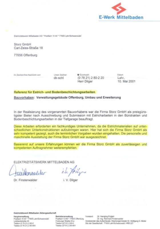 Empfehlungsschreiben der Firma Elektrizitätswerk Mittelbaden AG für ...