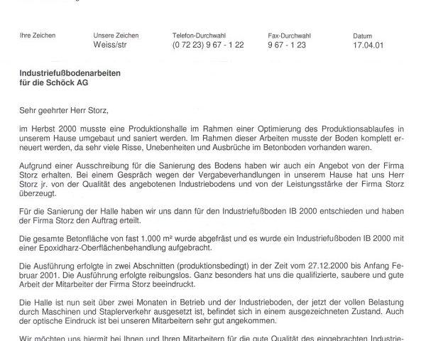 Empfehlungsschreiben der Firma Schöck AG für Industriefußboden IB ...